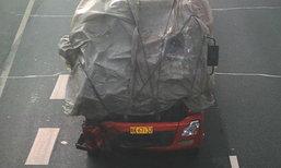 ตำรวจจีนอึ้ง! รถบรรทุกห่อพลาสติก วิ่งฉิวไม่แคร์เพิ่งชนมา