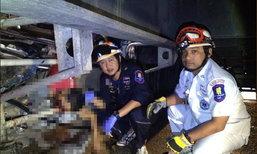 หนุ่มซิ่งกระบะมุดใต้ท้องรถพ่วง ตัวเองรอด เพื่อนตายสยอง