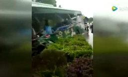 เกิดอุบัติเหตุรถเมล์ชนกับรถบรรทุก ดับแล้ว 10 สาหัส 8 เจ็บเพียบ