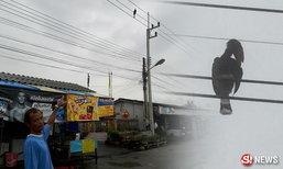 นกเงือกตัวใหญ่บินเกาะสายไฟ ชาวบ้านไม่กล้าช่วย กลัวติดคุก