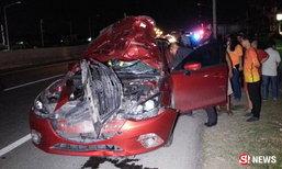 เก๋งป้ายแดงหนุ่มโฟร์แมน ชนคนข้ามถนนร่างเละ-ตายสยอง