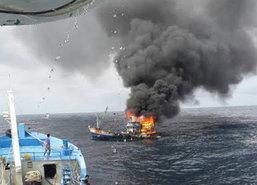 ไฟไหม้เรือประมงทะเลอันดามันเสียหาย5ล้าน