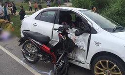 นักเรียนขี่จยย.รีบไปสอบ เกิดอุบัติเหตุชนกับรถเก๋ง หัวทะลุกระจกดับคาที่