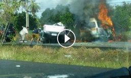 เผยคลิปเหตุรถตู้ชนกระบะ ไฟคลอก 25 ศพ หนุ่มโพสต์เล่านาทีสลด
