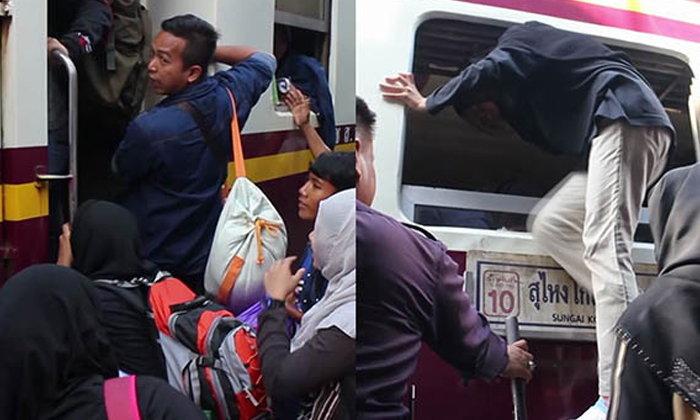 แน่นทุกโบกี้! สถานีรถไฟยะลามีแค่ตั๋วยืน ต้องใช้บันไดเสริมขึ้นทางหน้าต่างแทน