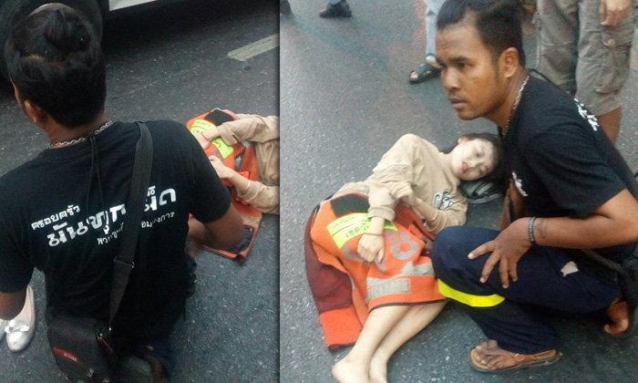 ชมเปาะ! หนุ่มวินฯ ถอดเสื้อคลุมขาสาวเกาหลี ถูกรถชนทางม้าลาย