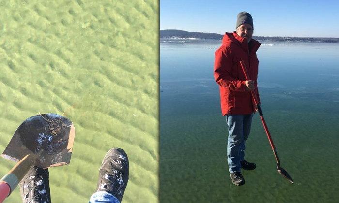 ภาพจริง..ไม่ได้ตัดต่อ คนลงไปเดินเล่นอยู่เหนือผืนน้ำ