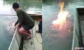 ชาวบ้านแตกตื่นน้ำผุดไฟประทุ คาดมีแก๊ชธรรมชาติ