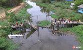 สะพานหัก! รองสารวัตรฯ รถตกคลอง ทุบกระจกหนีรอดหวุดหวิด