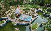 อาจารย์สร้างแผนที่จำลองประเทศจีนบนระเบียงบ้านตัวเอง