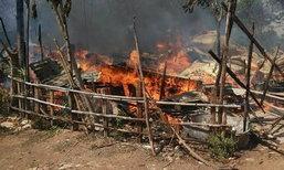 ไฟไหม้แคมป์คนงานก่อสร้างวอดเกลี้ยงที่โคราช