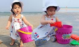 น้องมายู ชอบมาก พ่อหนุ่มแม่เมย์พาไป สัมผัสทะเลครั้งแรก