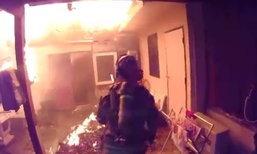 คลิปดัง..ชาวเน็ตชม นักดับเพลิงเสี่ยงตาย ช่วยลูกสุนัขกลางกองเพลิง