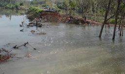 น้ำยังท่วมที่ลุ่มติดริมแม่น้ำตรังต่อเนื่องร.ร.ปิดสอน