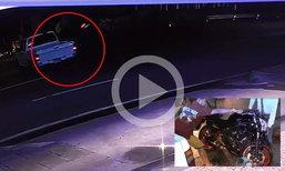 วงจรปิดจับภาพ กระบะกลับรถกะทันหัน บิ๊กไบค์ทางตรงวิ่งชนคนขับบาดเจ็บสาหัส