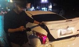 ใต้ฝุ่น KPN เบรกรถหลบคนเมา โดนชนท้าย 3 คันรวด