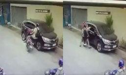 เจ้าของมึนรถมีรอย เปิดวงจรปิดพบฝรั่งขี่จยย.ไต่เกือบขึ้นหลังคา