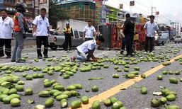 รถบรรทุกมะม่วงยางระเบิดพลิกคว่ำ เทกระจาดเกลื่อนถนน