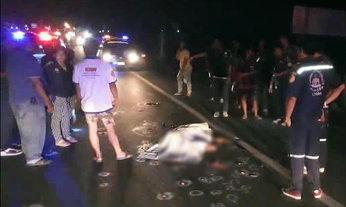 เบรกไม่ทัน สาวซิ่งเก๋งทับคนนอนกลางถนน ฆ่าคนตายไม่ตั้งใจ