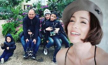 ภาพครอบครัว บัวชมพู คุณแม่หน้าใสกับลูกชาย 3 คน หล่อไม่เบา
