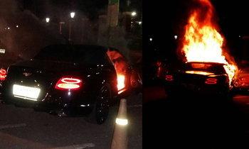 ไฟไหม้ปริศนา เก๋งหรูเบนท์ลี่ย์ข้างสวนลุมพินี คนขับปลอดภัย
