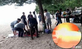 สลด! ฟ้าผ่า 2 หนุ่มสาวนั่งเล่นชายหาดชะอำ ดับ 1 สาหัส 1