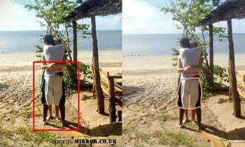 ชาวเน็ตแห่แชร์ภาพชวนสงสัย ชายหญิงกอดสลับขา