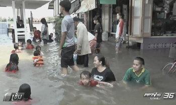 """น้ำท่วม """"ชุมชนเกาะเกร็ด"""" นานหนึ่งสัปดาห์แล้ว"""