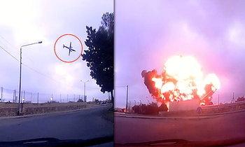 ภาพน่าสะพรึง! เครื่องบินตกปริศนา ระเบิดรุนแรงที่เกาะมอลตา
