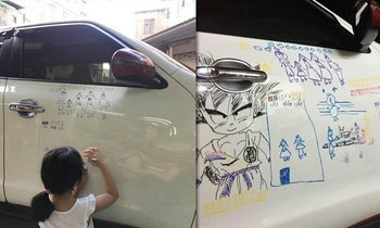 รักสุดใจ! อาหมวยวาดรูปบนรถ พ่อไม่ล้างแม้ได้ใบสั่ง