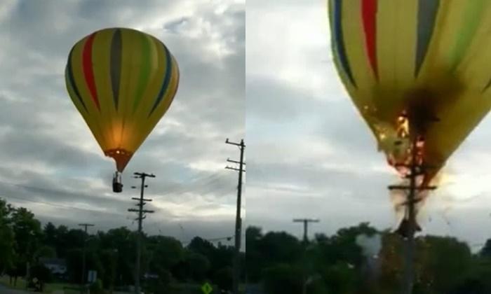 ฉากระทึก บอลลูนชนเสาไฟ เกิดระเบิดสนั่นกลางอากาศ นักบินรอดหวุดหวิด