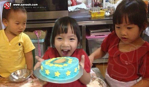ภาพน่ารัก! น้องแพรว น้องภูมิ ทำเค้กวันเกิดให้พ่อบ๊วย