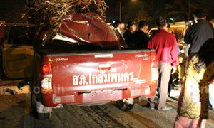 ดาบตำรวจขับรถตราโล่ชนท้ายรถอ้อยดับคาที่
