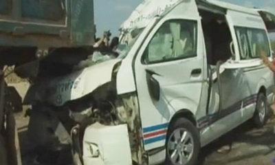 รถตู้สระแก้ว ซิ่งอัดก็อปปี้ท้ายรถบรรทุกดิน ดับ 4 ศพ