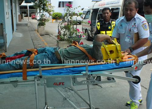 หนุ่มปทุมฯ วิ่งหนีตำรวจถูกรถชนขาหัก