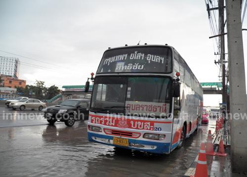 พ่วงชนบัสไร้เจ็บ-ฝนตกรถติดยาวถึงนวนคร