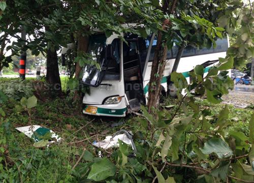 รถทัวร์เชียงราย-ฝางเสียหลักชนต้นไม้เจ็บ7