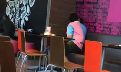 คลิปนักเรียนไทยกอดจูบสาว กลางร้านฟาสต์ฟู้ด