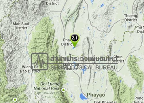 แผ่นดินไหวที่ อ.พาน จ.เชียงราย 2.1 R