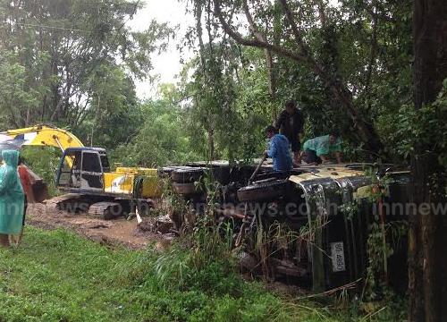 ฝนถล่มตลาด-10ล้อชนป้ายทางหลวงพลิกคว่ำ