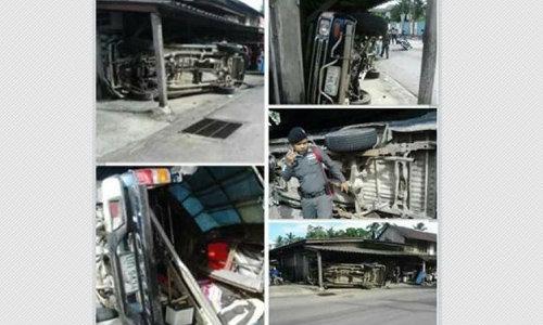 รถรับ-ส่งนักเรียนรือเสาะเสียหลักเจ็บระนาว