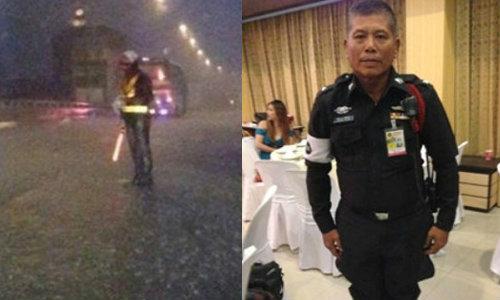 เศร้า! ตำรวจโบกรถกลางฝน เสียชีวิตแล้วหลังถูกรถชน
