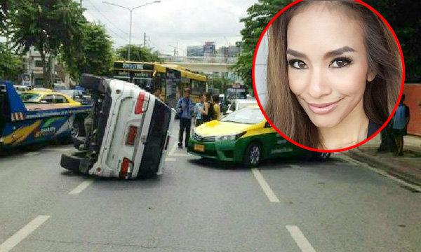 """หวิดสิ้นชื่อ """"กี้ รฐกร"""" อุบัติเหตุรถยนต์พลิกคว่ำกลางถนนรัชโยธิน"""