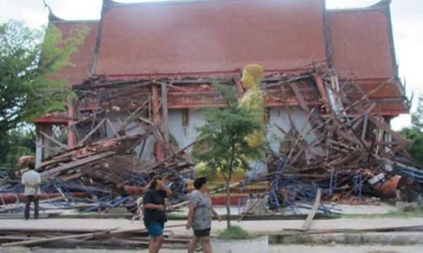 พายุพัดวิหารหลวงพ่อโตปทุมธานี พังทั้งหลัง