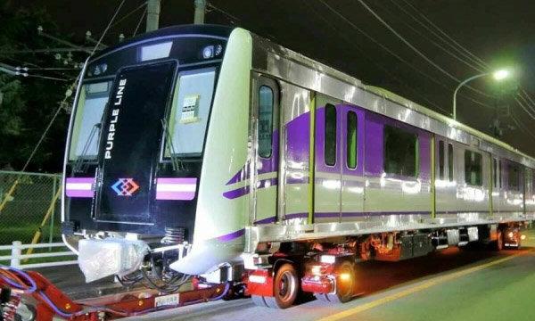 ยลโฉม! รถไฟฟ้าสายสีม่วง เอี่ยมอ่อง ก่อนถึงไทย 16 ก.ย.นี้