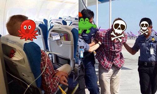 ฝรั่งเมาบุกปล้ำแอร์ฯบนเครื่องบิน รุมจับชุลมุน