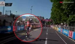 """ดีใจเก้อ! """"นักปั่นจักรยาน"""" นึกว่าเข้าเส้นชัยที่ไหนได้เหลืออีกรอบ (คลิป)"""