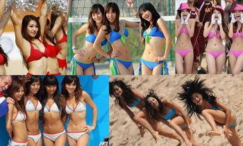 เด้งหน้าเด้งหลัง!! สาวเชียร์ลีดเดอร์ ขอบสนามวอลเลย์บอลชายหาด