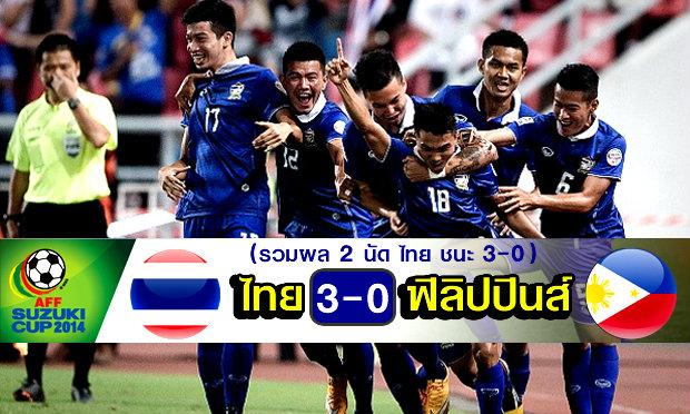 เจ1,ก้องซัด2! แข้งไทยอัดปินส์ 3-0 ทะลุชิงซูซูกิคัพ 2014