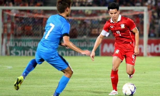 ประมวลภาพ นัดอุ่นเครื่องทีมไทย 2-0 ทีมสิงคโปร์